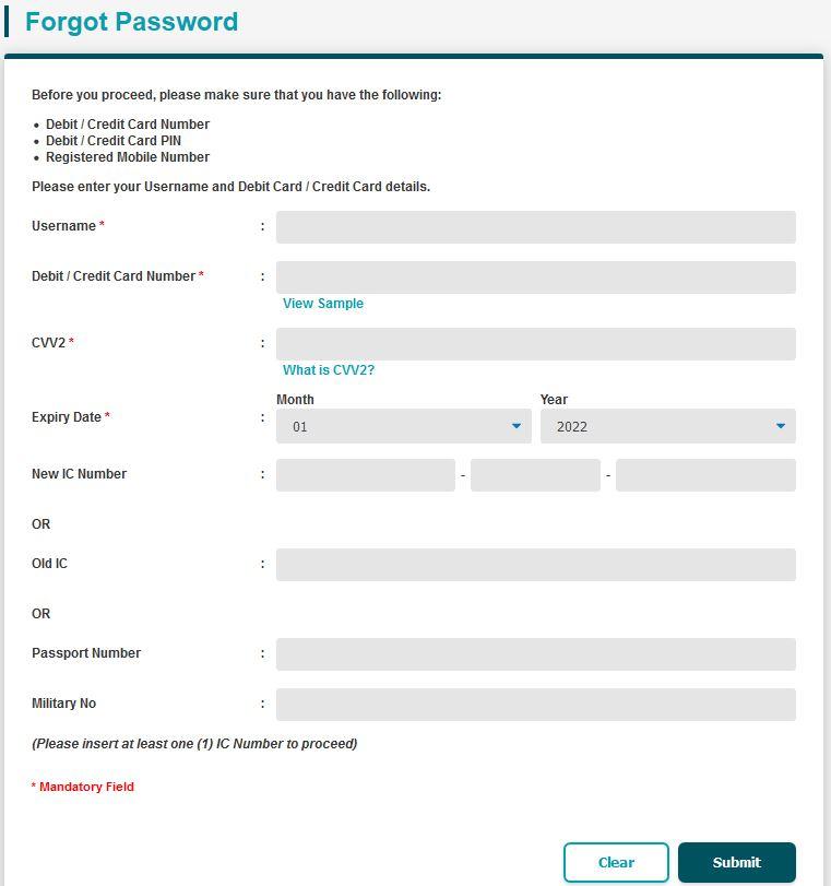 Lupa Kata Laluan BSN Internet Banking