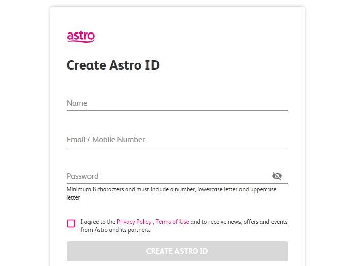 Register Astro Online